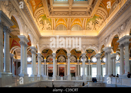 The Grand Hall of the Library of Congress building in Washington, DC - Stock Photo