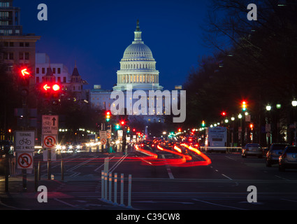 The United States Capitol at the end of the National Mall in Washington, DC seen from Pennsylvania Avenue in the - Stock Photo