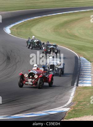 Pre war ports cars racing at Donington Historic festival - Stock Photo