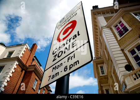 A Congestion Zone sign in Westminster, London - Stock Photo