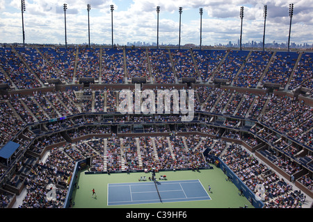 Roger Federer, Switzerland in action on Arthur Ashe Stadium at the US Open Tennis Tournament at Flushing Meadows, - Stock Photo