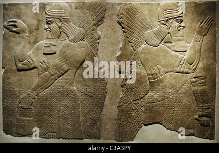Mesopotamian art. Neo-Assyrian. Relief panels depicting two protective winged genius. Dated between 883-859 BC. - Stock Photo