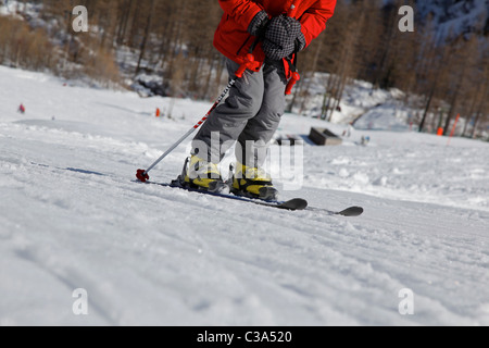 Riding up on a platter pull - Stock Photo