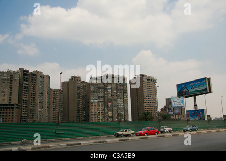 Cairo's residential apartment buildings, view from motorway. - Stock Photo