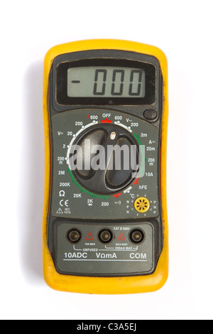 Used digital multimeter with yellow protection - Stock Photo