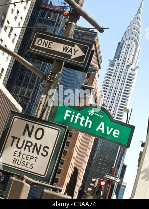 Fifth Avenue Traffic Sign@ 42nd Street w/Chrysler Building, NYC - Stock Photo