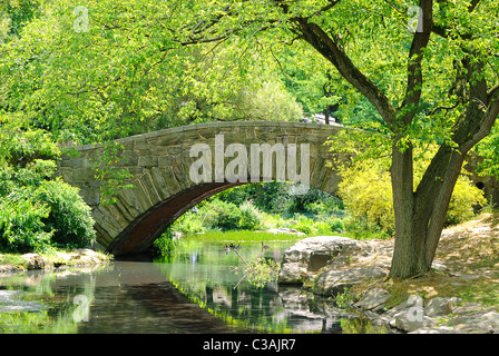 Gapstow Bridge over The Pond in Central Park, New York City. - Stock Photo