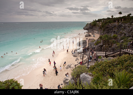 Tulum: Maya Ruins: Beach - Stock Photo