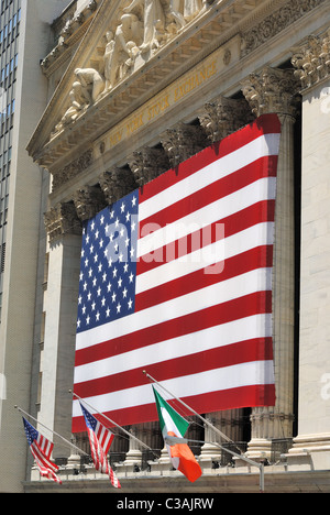 The historic Wall Street in New York York City and the New York Stock Exchange. July 12, 2010. - Stock Photo
