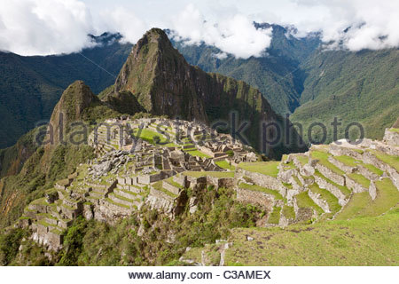 High angle view of Machu Picchu complex from the upper agricultural sector in the western part of the site. Machu - Stock Photo