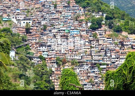 Favelas or slums in Rio de Janeiro, Brazil - Stock Photo