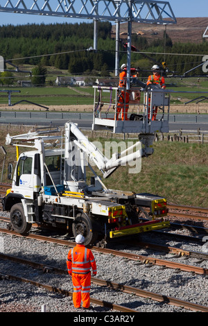 Hi-Visibility Babcock Rail Engineers repairing Train lines track at  Beattock Summit Network Rail Contractors in - Stock Photo