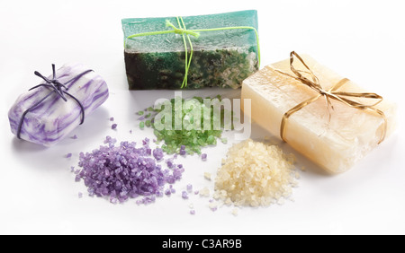 Range of different soaps on a white background. - Stock Photo