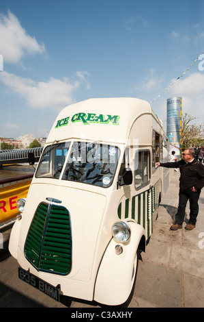 Old ice cream van on the south bank in central London outside the Royal Festival Hall - Stock Photo