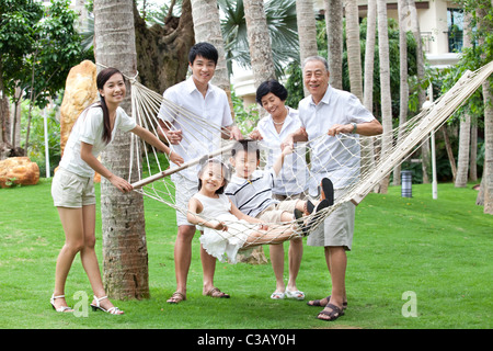 Portrait of a happy family on vacation - Stock Photo