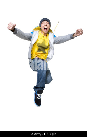 Excited man jumping up - Stock Photo