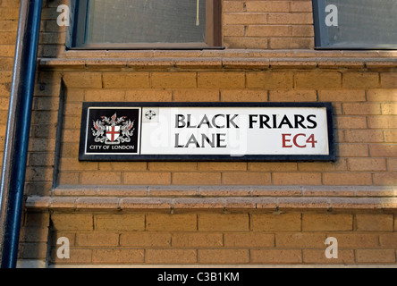 street name sign for black friars lane, in the city of london, england - Stock Photo