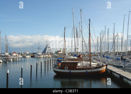 The marina of the Baltic Sea health and holiday resort Damp in Schleswig-Holstein, Germany, is popular for boating - Stock Photo