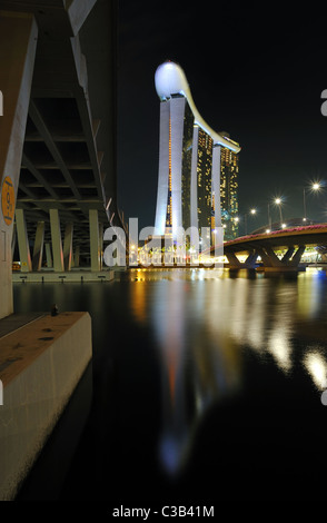 A long exposure shot of Marina Bay Sands Hotel and Integrated Resort. - Stock Photo