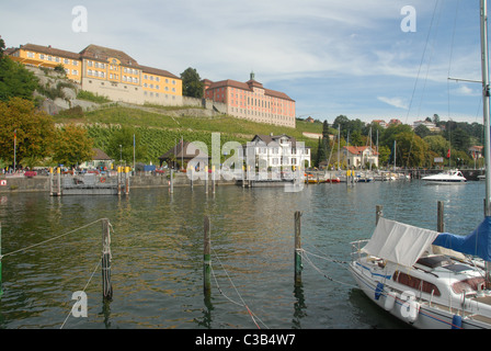 The port  of Meersburg on Lake Constance is dominated by the Staatsweingut (state wine production) of Baden-Württemberg - Stock Photo
