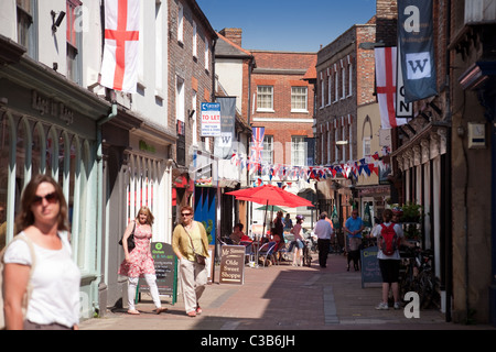 Street scene on St georges day, Wallingford, Oxfordshire UK - Stock Photo