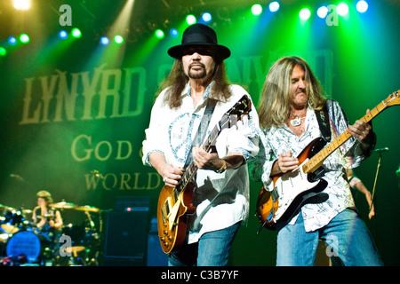 Gary Rossington and Mark Matejka of Lynyrd Skynyrd perform live at the Glasgow Clyde Auditorium, as part of their - Stock Photo