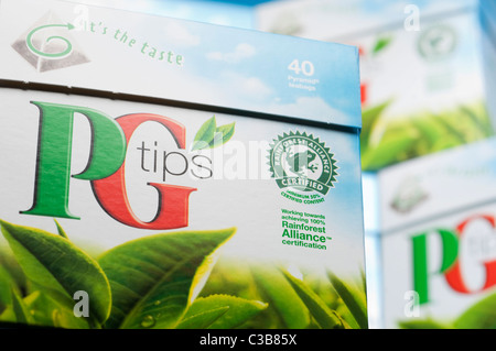 Illustrative image of PG Tips pyramid tea bags, a Unilever food product. - Stock Photo