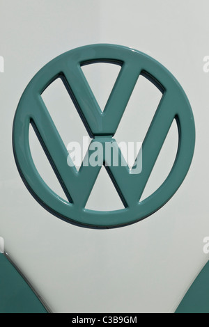 VW logo on Volkswagen camper van, at Stanford Hall, UK - Stock Photo