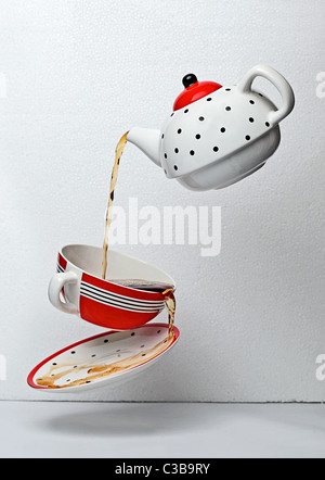 antique porcelain teapot - Stock Photo