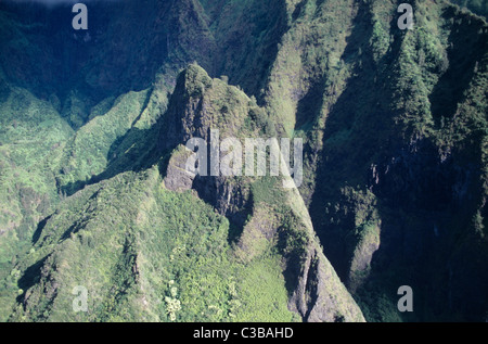 Hawaii, Maui, The Valley Island, aerial view of Iao Valley - Stock Photo