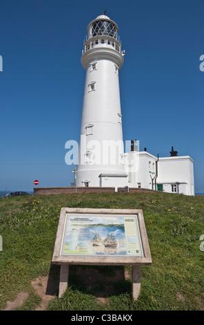 Flamborough Head Lighthouse on East Yorkshire coast - Stock Photo