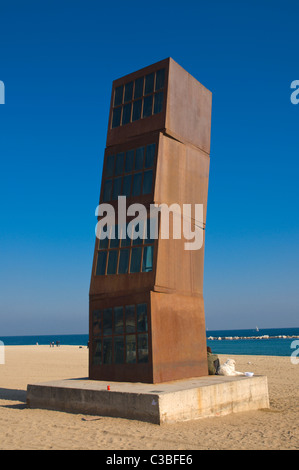 L'estil Ferit (Wounded Star) sculpture by Rebecca Horn at Platja de Sant Sebastia beach Barcelona Catalunya Spain - Stock Photo