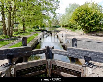 Lock Gates on the Rochdale canal, Chadderton, Oldham, Lancashire, England, UK. - Stock Photo