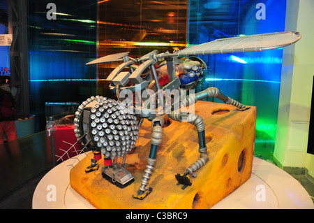 Israel, Haifa, MadaTech The Israel national Museum of Science The Robotic World exhibition. House fly robot - Stock Photo