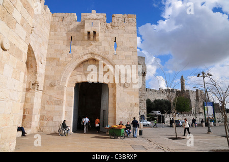 Israel, Jerusalem, Old city Jaffa gate square outside the walls near the David citadel - Stock Photo
