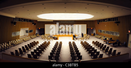 The Security Council Chamber  in the United Nations Conference Building in Manhattan, New York City. - Stock Photo