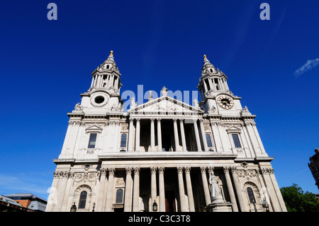 The West Front of St Paul's Cathedral, London, England, UK - Stock Photo