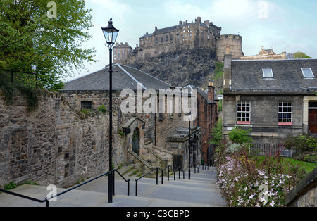 Edinburgh Castle photographed from The Vennel in the Old Town. - Stock Photo
