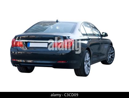 Modern European Luxury Sedan Car - over White - Stock Photo