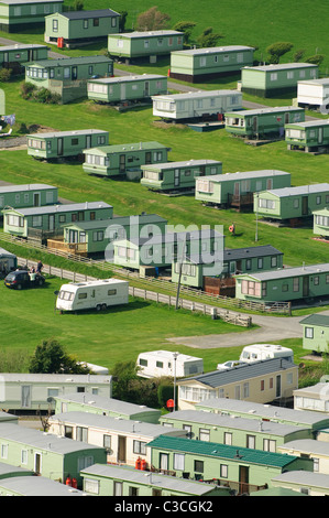 Rows of Static caravans on a campsite, Borth , Ceredigion Wales UK - Stock Photo