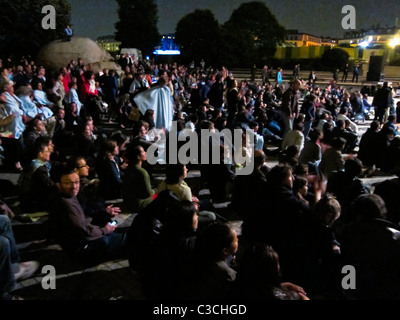 Paris, France, Audience Watching  Contemporary Arts Performance in Les Halles District, night, 'Page Blanche' - Stock Photo
