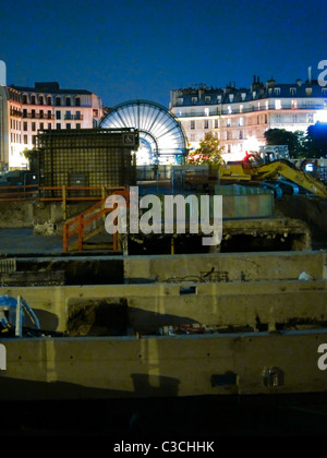 Paris, France, Construction Site at 'Les Halles' Shopping Center, at Night - Stock Photo
