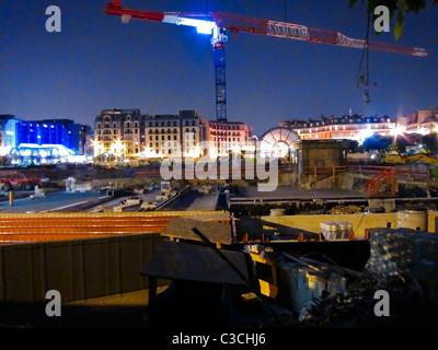 Paris, France, Construction Site at 'Les Halles' Shop-ping Center, at Night - Stock Photo