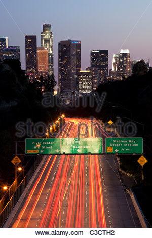 Pasadena Freeway (CA Highway 110) Leading to Downtown Los Angeles, California - Stock Photo