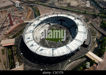 The Olympic Stadium for the 2012 Olympics in London as seen from the air - Stock Photo