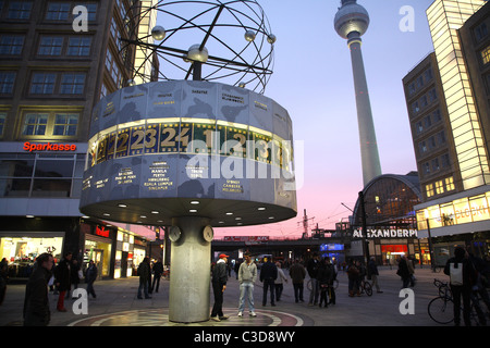 The TV tower and Urania World Clock, Berlin, Germany - Stock Photo