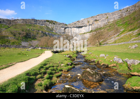 The Pennine Way alongside Malham Beck at Malham Cove, Malham, North Yorkshire, Yorkshire Dales National Park, England, - Stock Photo
