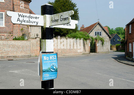 Opponents of the proposed HS2 high speed rail project show their posters in the village of Little Missenden - Stock Photo