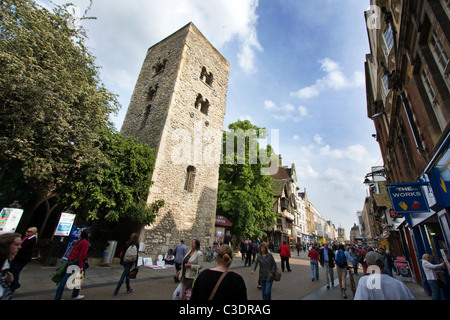 Saxon Tower of St Michael at the North Gate Church in Cornmarket Street in Oxford England - Stock Photo