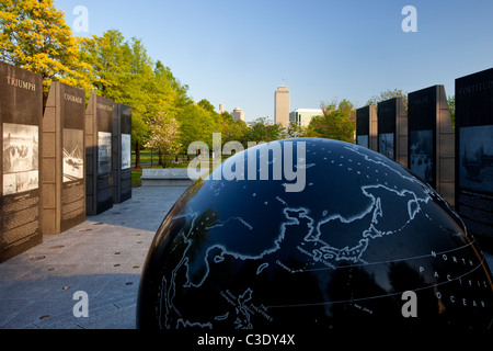 18,000 pound floating Granite globe at the World War II Memorial in Bicentennial Park, Nashville Tennessee USA - Stock Photo